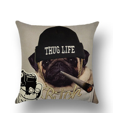 Lychee DIY Cartoon Dog Series Pillow Cases Colorful Linen 45x45cm For Bedroom Home Office