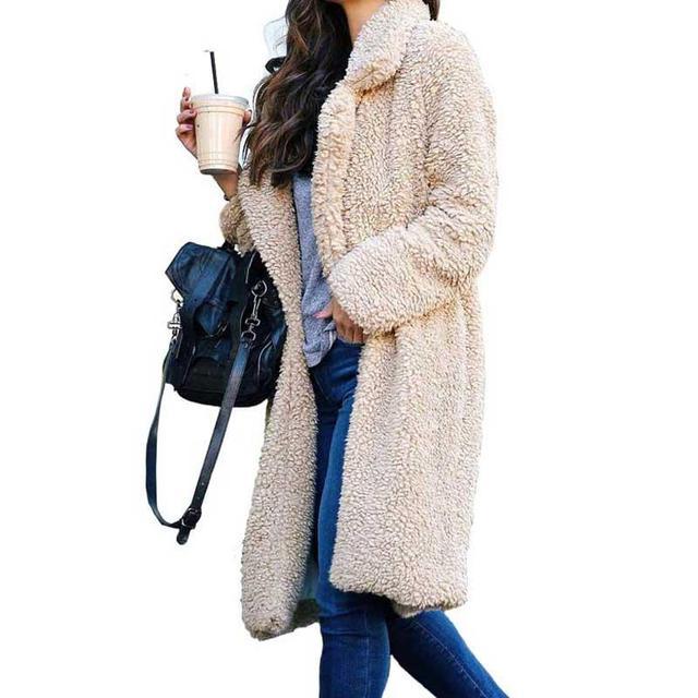 2020 Autumn Winter Faux Fur Coat Women Warm Teddy Bear Coat Ladies Fur Jacket Female Teddy Outwear Plush Overcoat Long Coat