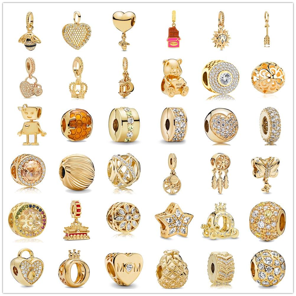 Gold Charm Jewelry Bead 925-Bracelet Sparkling DIY 925-Sterling-Silver Zirconia Original Pandora