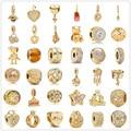 925 стерлингового серебра с металическими бусинками циркония сверкающим золотом, очаровательный, подрходит к оригиналу, соответственные Ев...