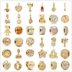 925 prata esterlina metal grânulo zircônia ouro espumante charme caber original pandora encantos prata 925 pulseira diy jóias femininas