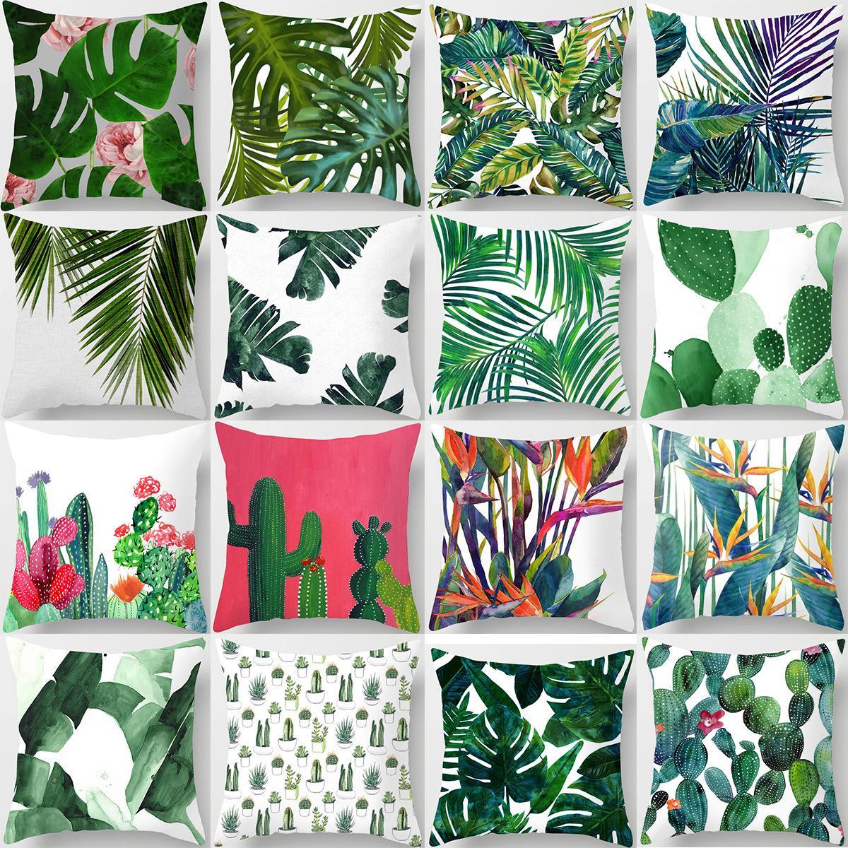 Tropical Plants Cushion Cover Cactus Flower Sofa Office Car Decorative Pillowcase Peach Skin Covers Home Living Room Decor 45x45
