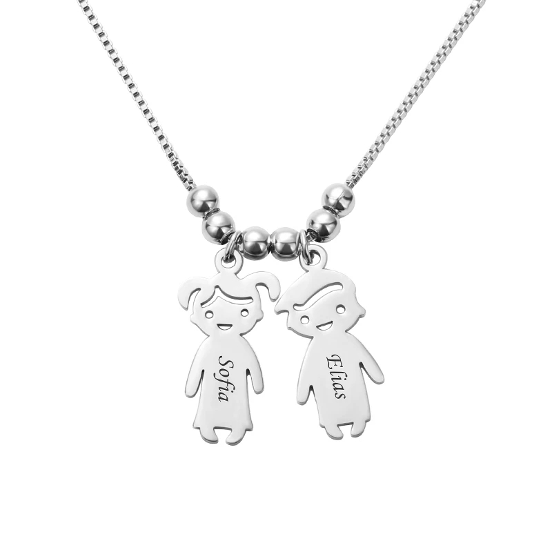 SHEON Personalized Engraved Kids Charms Necklace 925 Sterling Silver Custom Mother Daughter Son Necklace Fashion Silver Jewelry in Pendant Necklaces from Jewelry Accessories