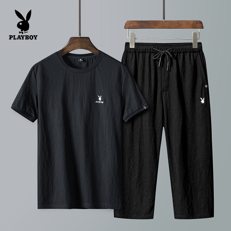 PLAYBOY Short Sleeve Capri Pants Set Men's 2019 New Style Sports Casual Two-Piece Set MEN'S T-shirt Tops Men'S Wear