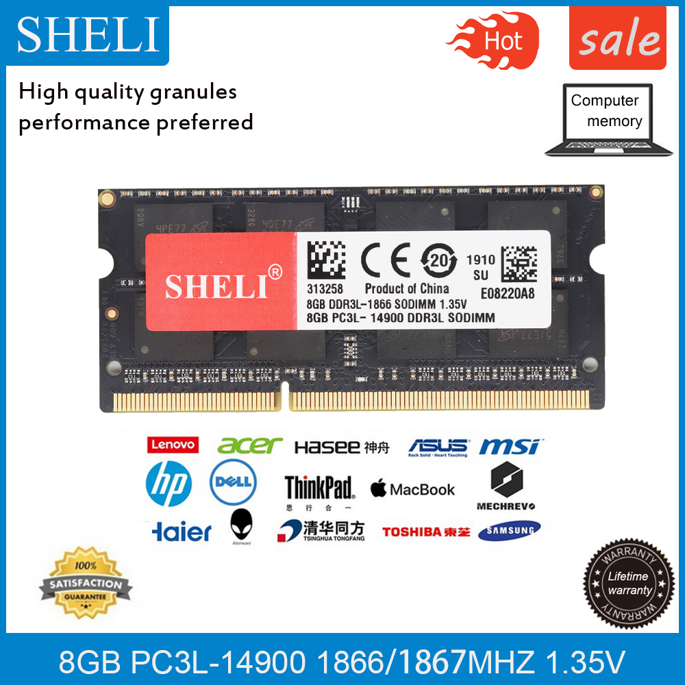 SHELI 8GB PC3L-14900 DDR3L-1867Mhz 204pin For IMac Retina 5K, 27 Late 2015 Memory