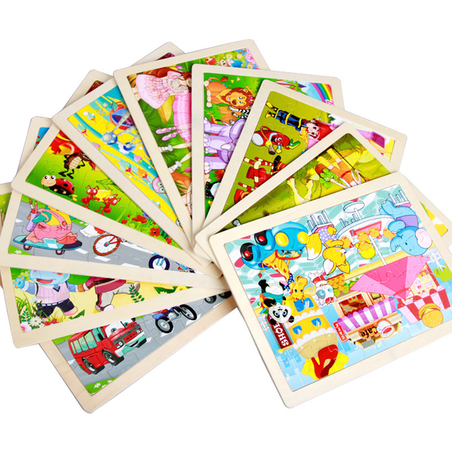 40 Pieces Kids Wooden Puzzle Board Toy Fun Cartoon Animal Jigsaw Boy Girl Baby Early Educational Learning Toys for Children Gift 2