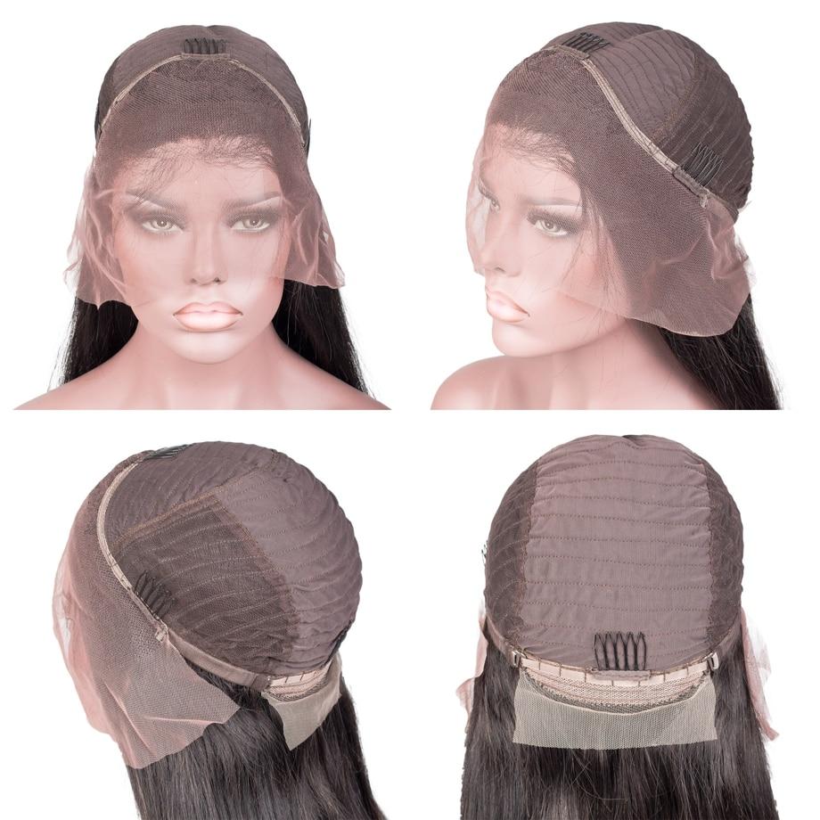 Perruque courte en dentelle avant de cheveux humains Bob perruque pour les femmes noires brésilienne droite Remy perruque de dentelle preplumée avec des cheveux de bébé 13x4 130% - 6