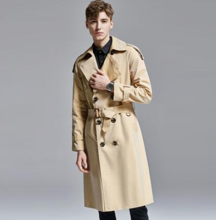 Trench couleur changeante hommes sur le genou long trench manteau hommes 2019 printemps automne britannique long manteau jeune! S 6XL - 5