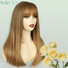 Ombre Natural Wavy Wigs For Women Synthetic Wigs With Bangs Medium Length Bob Hairstyle Honey Brown Cosplay Party Wigs Soft Hair emmor long dark brown ombre wavy synthetic hair wigs with bangs high temperature layered fluffy daily wig for women