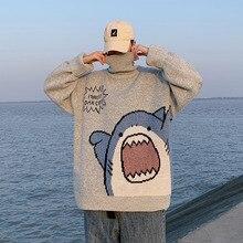 Men Turtlenecks Shark Sweater Men 2020 Korean Style High Neck Oversized Grey Turtleneck For Men