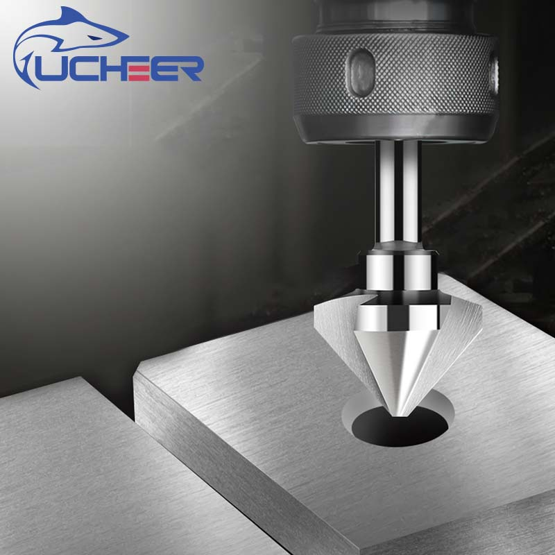 UCHEER 3 Flute 90degree HSS/TiSiN Coating Countersink Chamfering Tool Wood Steel Chamfer Cutter Power Tool 4.5 To 50mm
