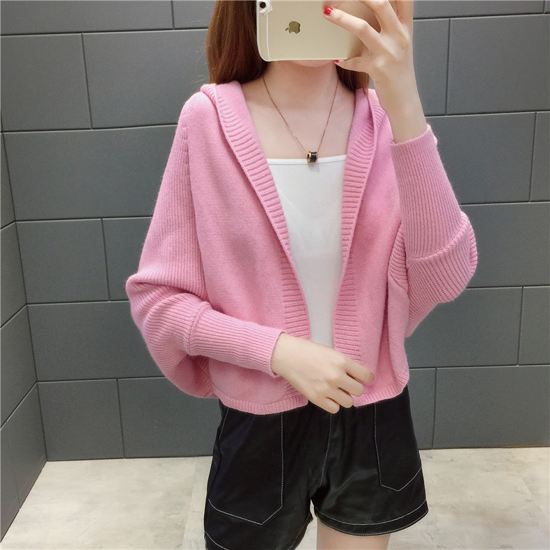2019 Free send New style Korean loose and comfortable Autumn women Cardigan Sleeve of bat Hooded Sweater coat 132