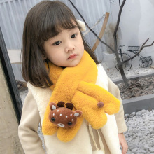 Детский шарф с рисунком оленя, Детские шарфы для девушек, шарф с искусственным кроличьим мехом, шарфы-кольца, мягкий зимний шарф для девочек