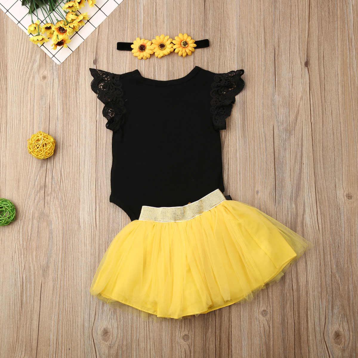 Bebek Kız Giysileri 3 ADET Bebek Kız 1st Doğum Günü Kıyafet Parti Çiçekler Bodysuit + Pastası Smash Tutu Etek + kafa bandı