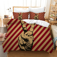 Rock and Roll Gesture 3d Bedding Set Duvet Covers Pillowcases Love Peace Comforter Sets Bedclothes Bed Linen