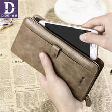 DIDE Casual Phone Bag Clutch Purse Wallet Genuine Leather Wallets For Men Card Holder Coin Purse Zipper Male Long Wallets цена