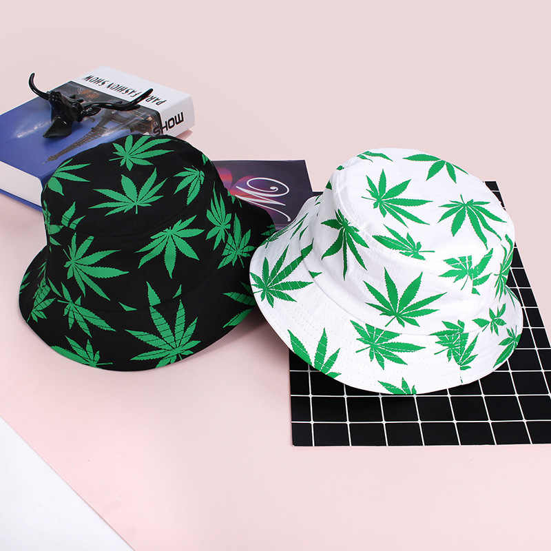 1PCs Print Maple Leaf Panama Bucket Hat Women Men Street Hip Hop Cap Couple Flat Fisherman Hats Fashion Summer Leaf Caps