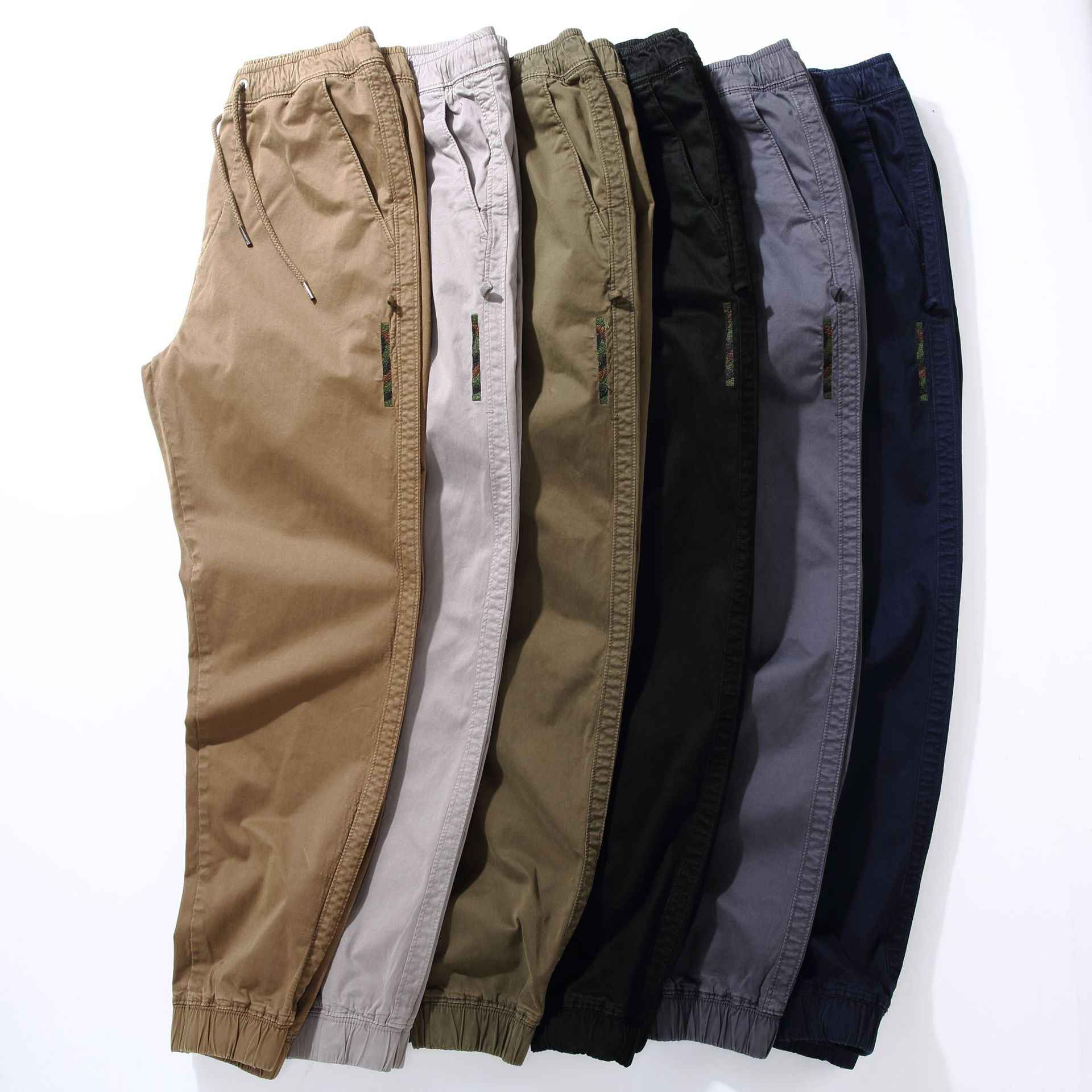 MANVALUE Otoño e Invierno overoles pantalones casuales de hombre Draw Rope Bundles pie europeo y americano pantalones lavados