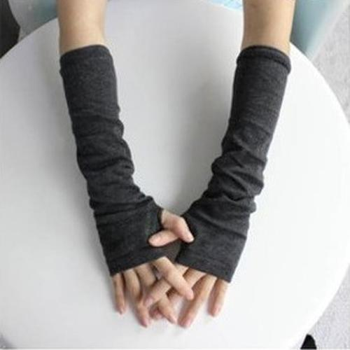 Women's 2020 Fashion Knitted Arm Fingerless Long Mitten Wrist Elastic Autumn Winter Half Fingerless Gloves Warm Gloves