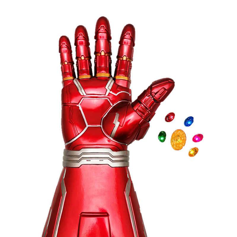 Avengers Endgame Iron Man Vô Cực Nhẹ Đá Có Thể Tháo Rời Với Đèn LED Cosplay Cánh Tay Thanos PVC Găng Tay Siêu Anh Hùng Vũ Khí Đạo Cụ