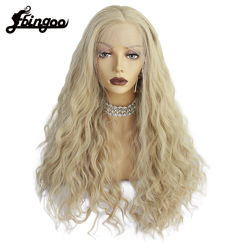 Ebingoo High Temperature Fiber Partial Long Body Wave Blonde Fluffy Layered Synthetic Lace Front Wigs for Women