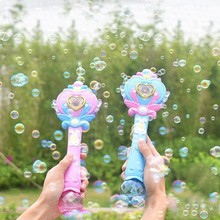 New Fairy Butterfly Wing Light Bubble Gun Automatic Soap Blowing Machine Electric Magic Wand Blower Toy Outdoor Kids Girls Toys