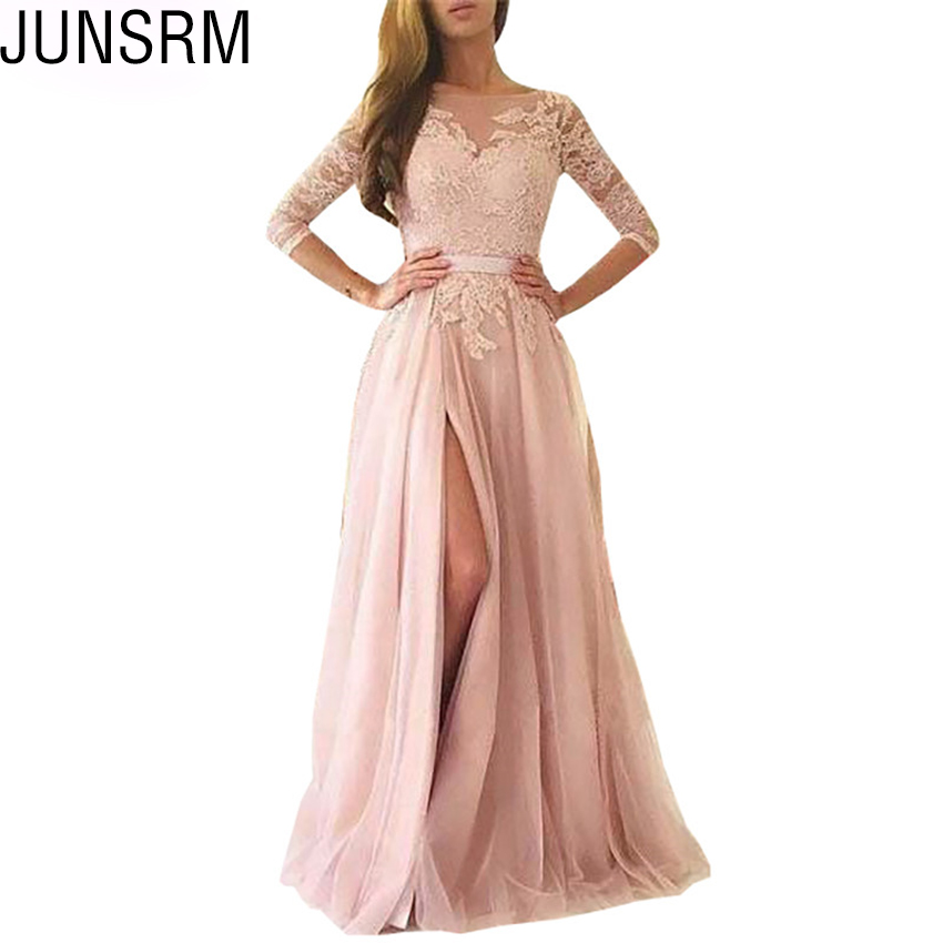 New Formal Lace Wedding Dress Jewel Sexy Wear A Line Elegant Split  Wedding Party Dress Special Occasion Dress Gowns