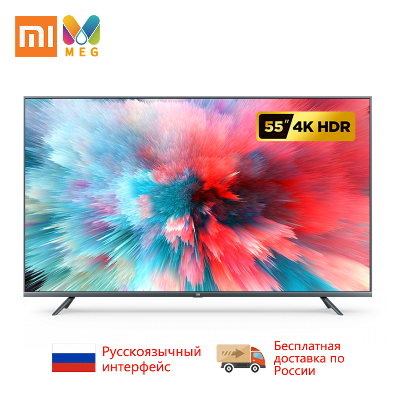 TV Xiao mi TV Android Smart TV 4S 55 pouces écran 4K HDR complet TV ensemble WIFI Ultra-mince 2GB + 8GB Dolby 100% russie