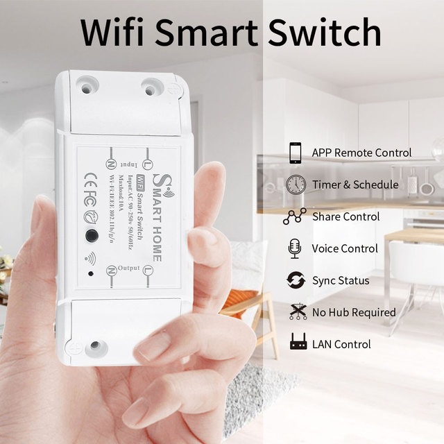Mini DIY Module Wifi Light Switch Wireless APP Remote Control Switch 220V Smart Home Electrical Switches with Alexa Google 1