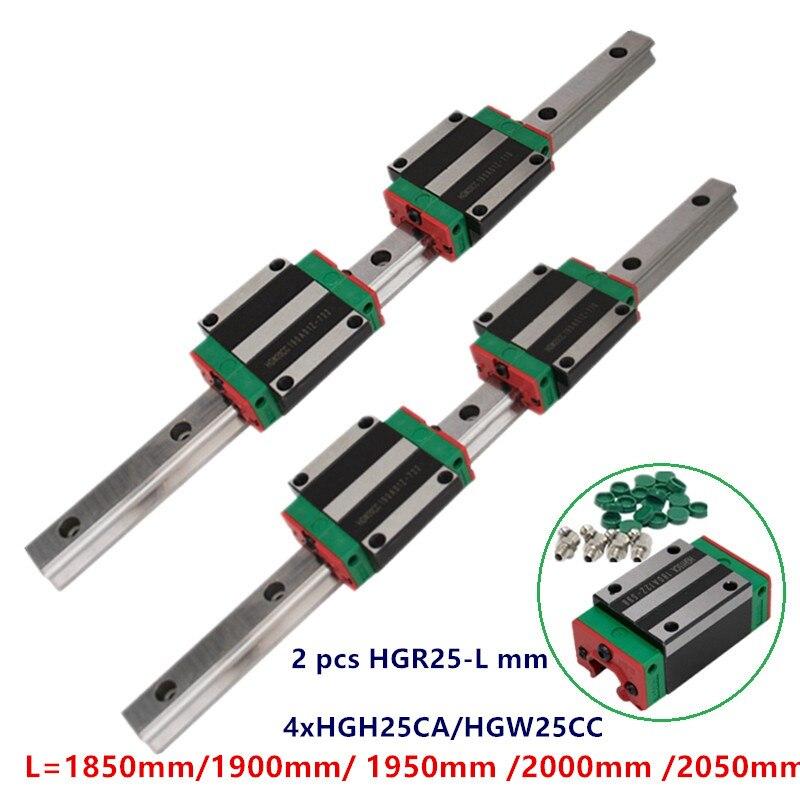 Ev Dekorasyonu'ten Doğrusal Kılavuzlar'de 2 adet süper kaliteli lineer kılavuz rayı HGR25 1850mm 1900mm 1950mm 2000mm 2050mm + 4x HGH25CA/HGW25CC slayt blokları cnc seti title=