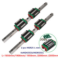 2pcs Super quality Linear Guide rail HGR25 1850mm 1900mm 1950mm 2000mm 2050mm+4x HGH25CA/HGW25CC slide blocks for cnc set