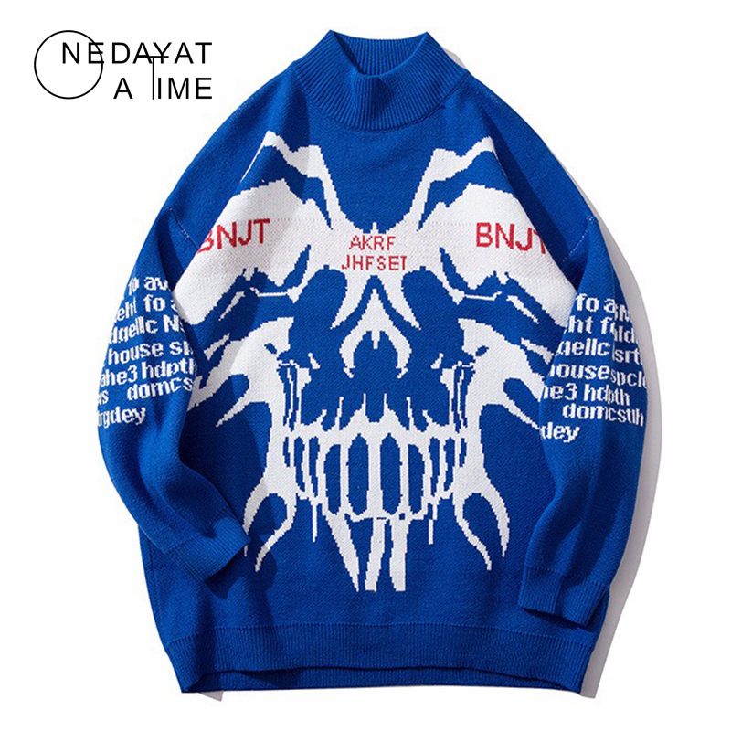 Harajuku Knitted Sweaters Men Hip Hop Turtleneck Pullover Sweater Streetwear Male Fashion Autumn Street Clothes Skull Sweaters