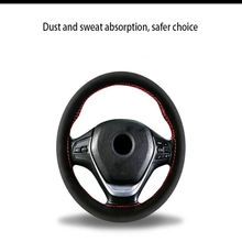 DIY sewing of 38cm/ 15-inch wool steering wheel cover, anti-skid and wear-resistant, with excellent hand feel