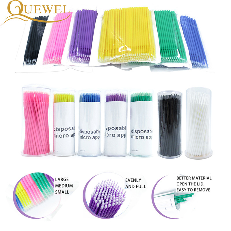 100pcs/lot Micro Brushes Eyelash Extension Make Up Eye Lash Glue Brushes Disposable Applicators Sticks Quewel Makeup Tools