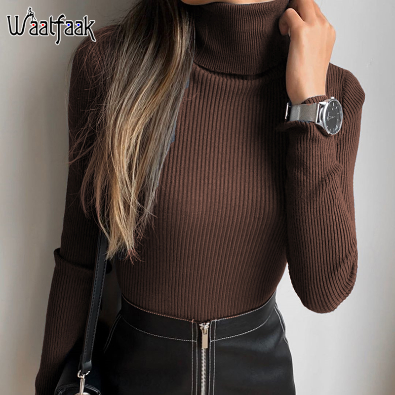 Waatfaak Solid Basic Casual Turtleneck Bodysuit Long Sleeve Skinny White Bodysuits Women Knitted Stretchy Rib Elegant Body Femme