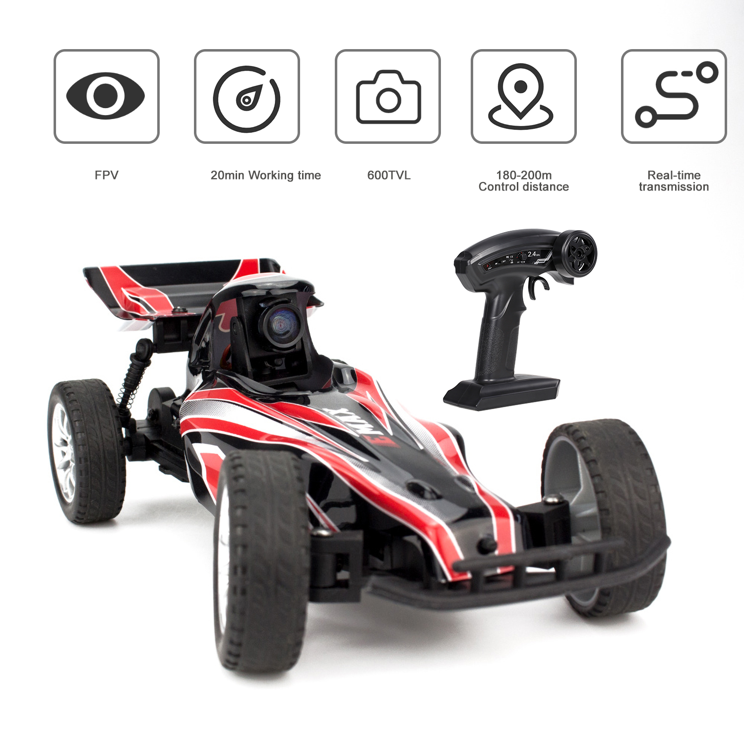 Interceptor Fpv Racing Rc Car With 600tvl Camera 2 4g 1 24 Indoor Remote Control Car Race Vision With Fpv Glasses Toys Gift Kids Rc Cars Aliexpress