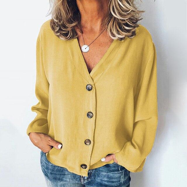 MISSJOY Women Shirt 2020 Spring New Cardigan V-Neck Button Plus Size Ladies Casual Long Sleeves Elegant Office Blouse Tops Black 3