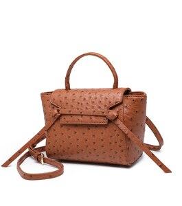 Image 2 - Highreal新しいカスタマイズされた高級ブランドデザインの女性のオーストリッチ革トートバッグクラッチトートショルダーバッグトレンディバッグ