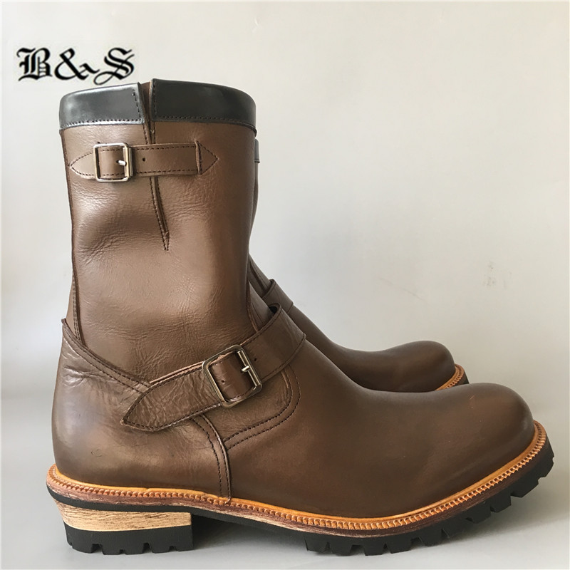 Women vintage waxed italian genuine leather fall autumn military work combat western ankle boots hand made flat casual belt fold over boots