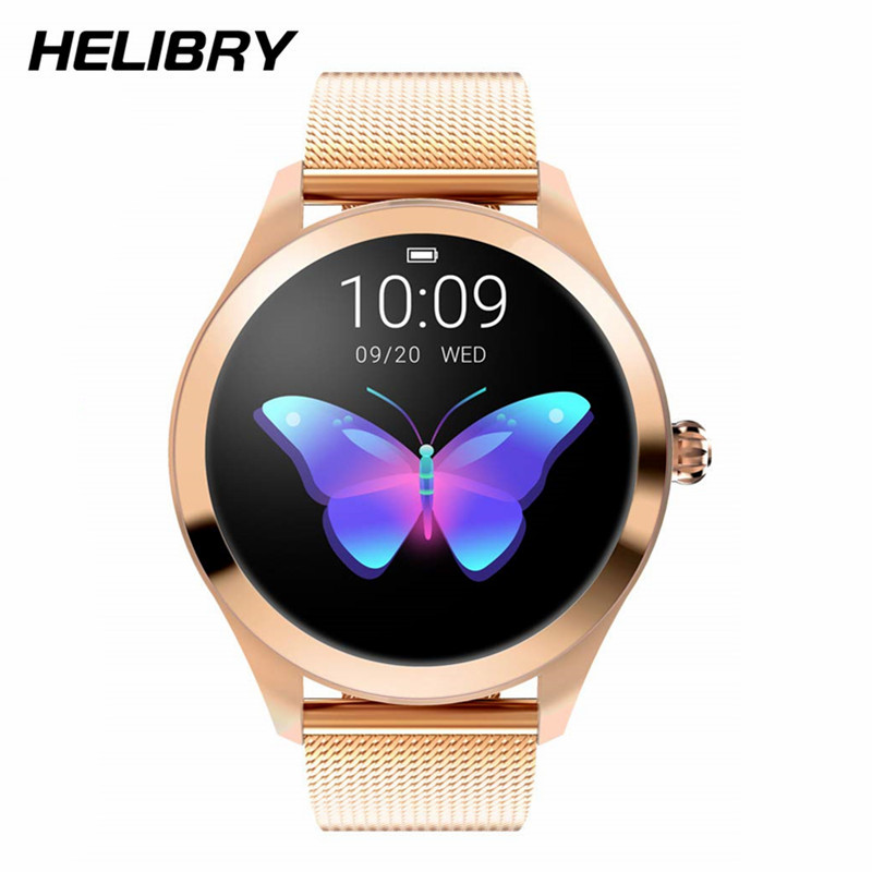 Women's Fashion Smart Watch KW10 IP68 Waterproof Round Color Screen Fitness Tracker With Heart Rate Blood Pressure Sleep Monitor