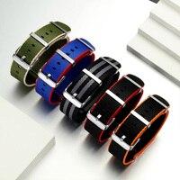 ONEON lekki oddychający 20mm 22mm pasek zegarka nowy pomarańczowy/szary/niebieski/czerwony Nylon NATO Watch Band garnitur dla wszystkie marki pasek zegarka