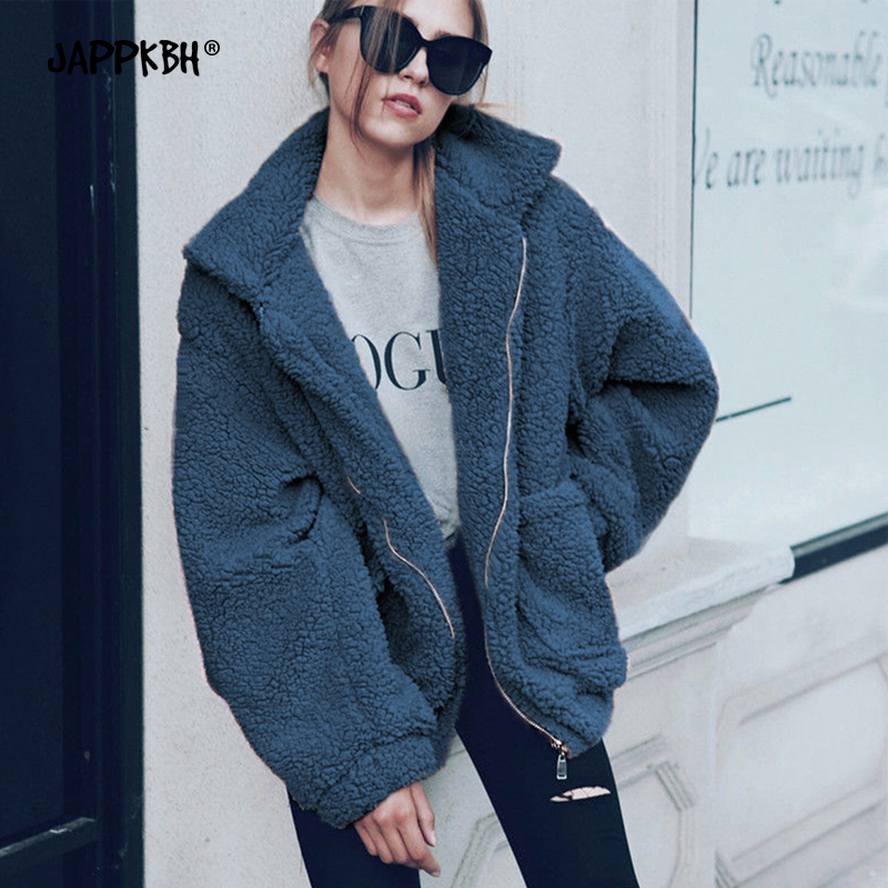 Autumn Winter Faux Fur Coat Women 2019 Fashion Casual Loose Warm Teddy Coat Female Plus Size Zipper Fur Jacket Black Outwear 3XL