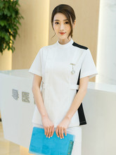 New hybrid nurses wear female long sleeve doctors wear split suit color matching fashionable Korean oral clothing