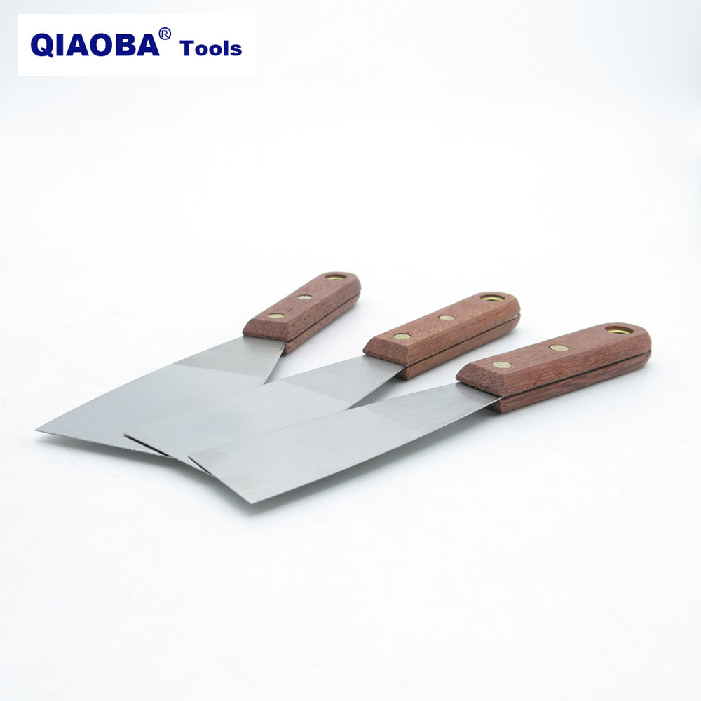 Flexible Stainless Steel Putty Knife Blade Wood Handle Building Tools 1.5 Inch 2 Inch 2.5 Inch
