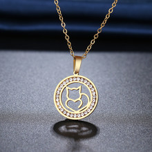 Ожерелье CACANA из нержавеющей стали 316L, новые Стразы с кристаллами, ажурные ожерелья с котом для женщин, свадьба, день Святого Валентина