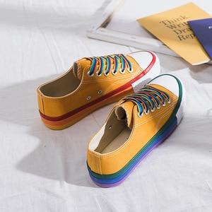 Image 4 - SWYIVY gökkuşağı beyaz ayakkabı kadın kanvas sneaker renk dantel 2020 bahar yeni kadın gündelik ayakkabı Platform ayakkabılar beyaz