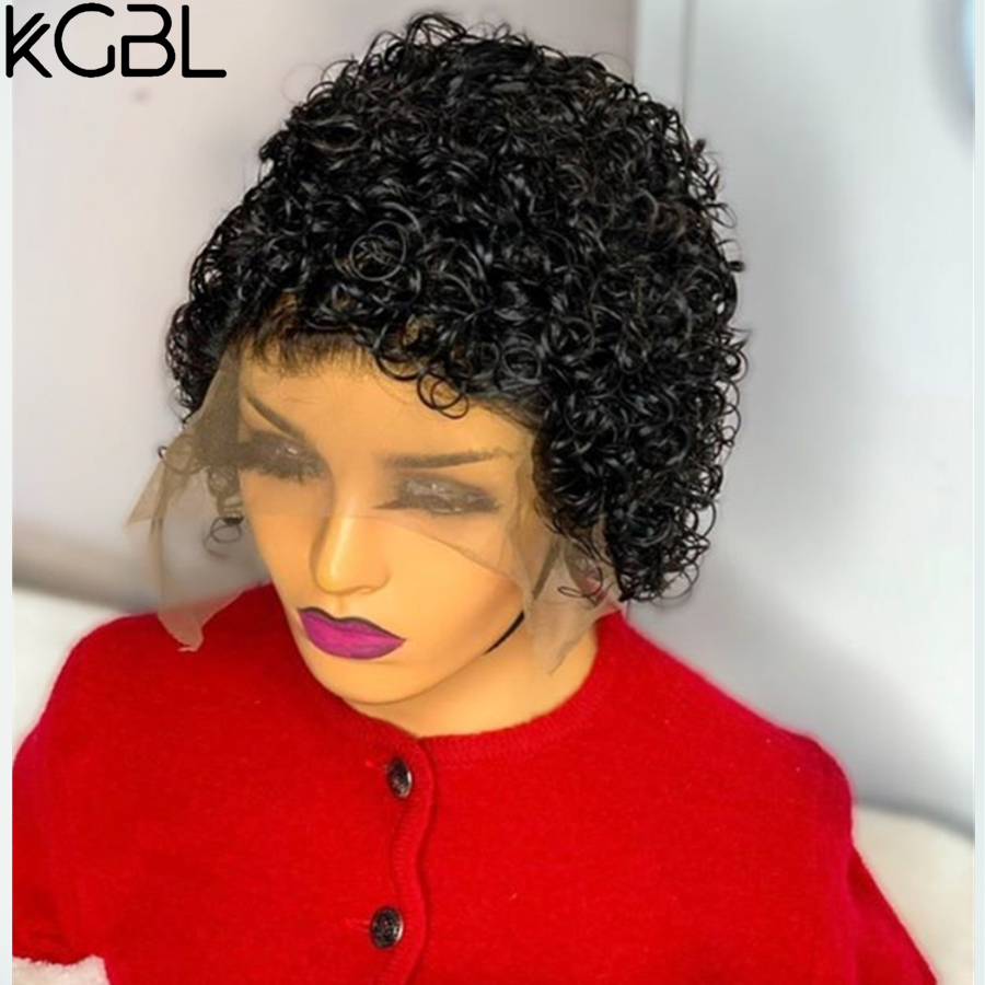 KGBL 13*4 Pixie Curly Lace Front Human Hair Wigs 150% 180% Density With Baby Hair Brazilian Non-Remy Medium Ratio For Women 4