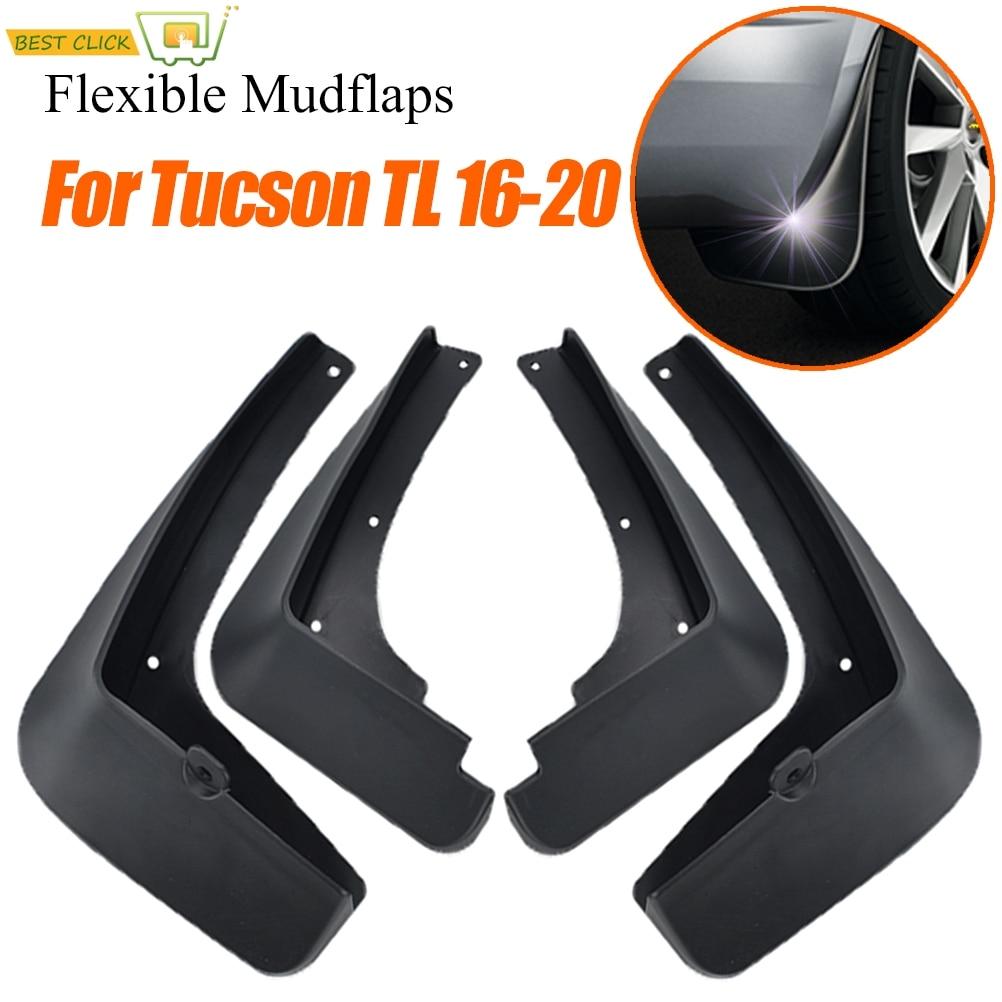Black Car Front Rear Mud Flaps Splash Guards Set for 2015 Hyundai Tucson