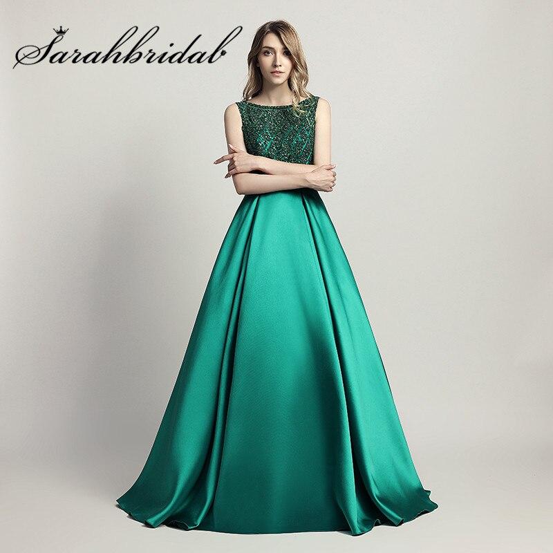 Женское вечернее платье с бусинами, длинное атласное ТРАПЕЦИЕВИДНОЕ платье в пол с круглым вырезом, для выпускного вечера, LX443
