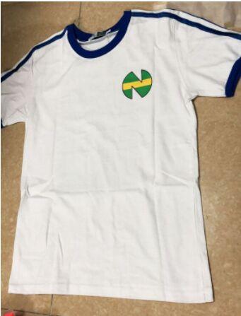 Asia Size ! Camiseta Shirts Oliver Atom Equipe De Japan France, Captain Tsubasa Jerseys,ATOM Football Cotton White Men's Shirts